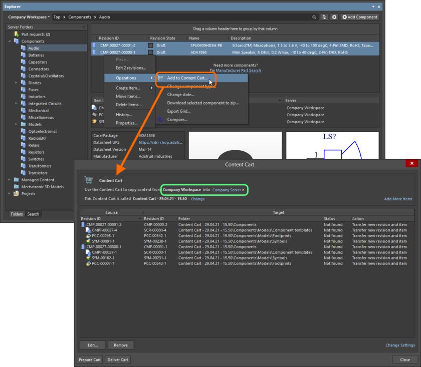 Диалоговое окно Content Cart – центр управления получением данных из исходного сервера.