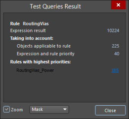 A Binary and Unary example of the Test Queries Result dialog