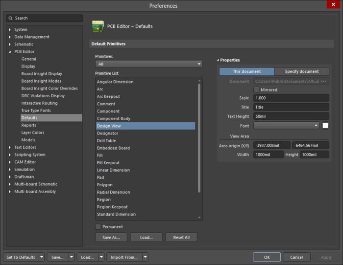 The Design Viewdefault settings in thePreferencesdialog and theDesign Viewmode of thePropertiespanel