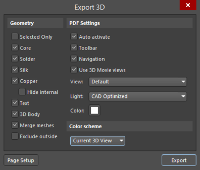 The Export 3D dialog