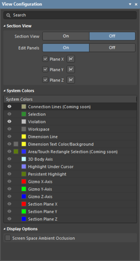 The Multi-board Assembly editor's View Configuration panel.