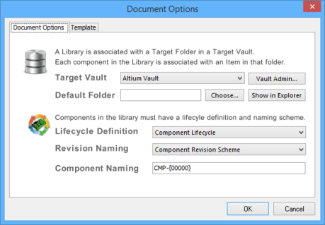 The Document Options tab of the Document Options dialog