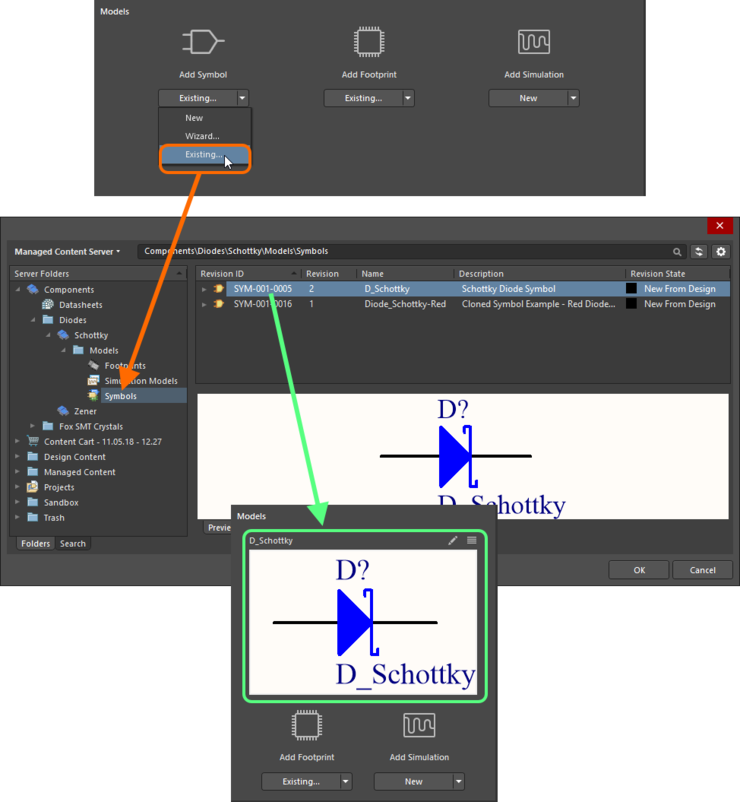 Dialog-based addition of an existing model.