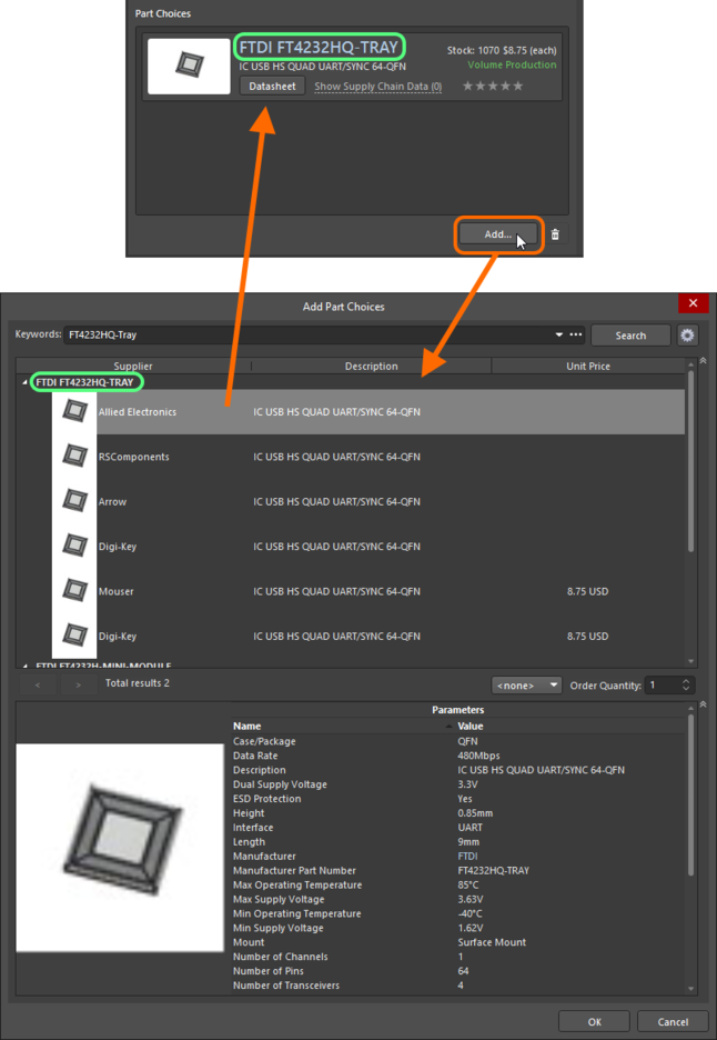 Making a manual part choice - use the Add Part Choices dialog to search for the required manufacturer part, select a vendor (supplier)  entry and click OK.
