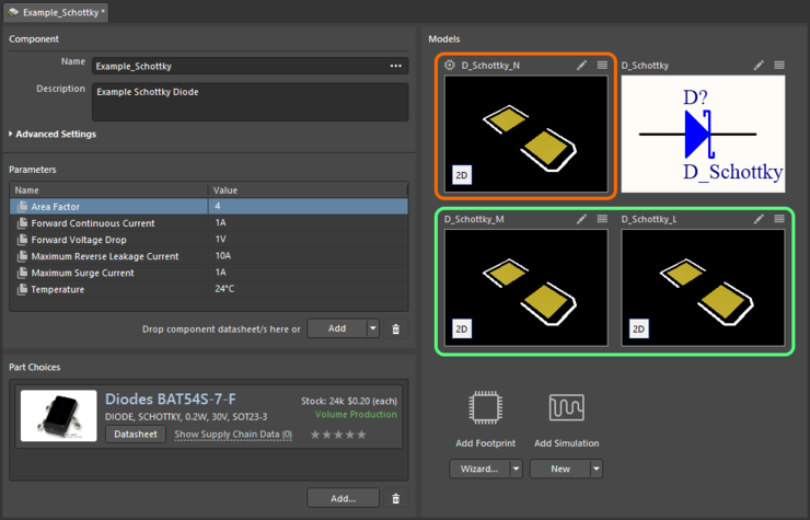 An example component defined in the Component Editor (Single Component Editing mode), using a referenced Component Template. The template has three  footprint models defined, which are brought into the Models region. The default footprint model (distinguished by an icon at its upper-left) corresponds to  the PCBLIB model entry in the template.