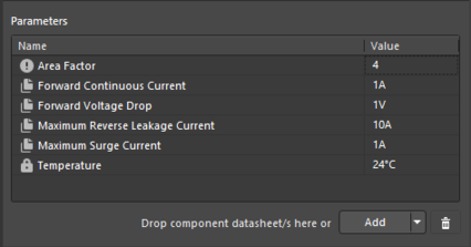 Example parameters from a referenced Component Template Item.