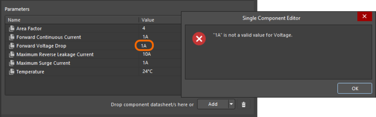Data validation - the Component Editor has the smarts to alert you to a mismatch between the value entered for a unit-aware parameter, and its data type.