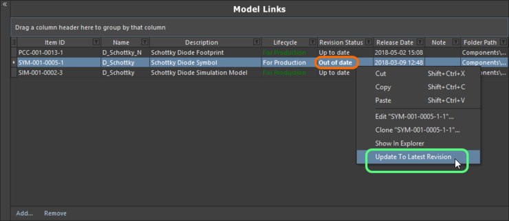 The Component Editor details any model that is not at the latest revision, right-click to update them.