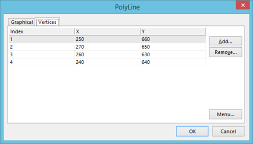 TheVertices tab of the Polyline dialog