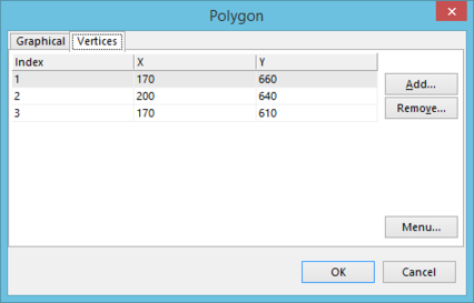 TheVertices tab of thePolygon dialog.