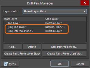 Created Back Drill Pairs (marked with a 'BD' prefix) in the Layer Stack Manager Drill Pair dialog.