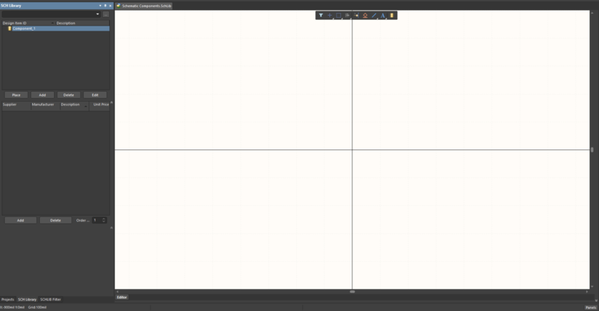 The new library, open at the default Component_1.