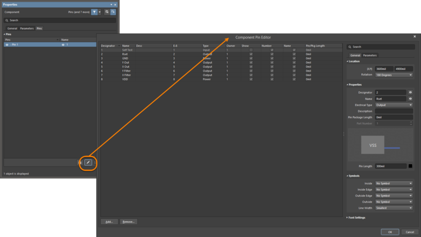 Review and edit all pins in the Component Pin Editor dialog.