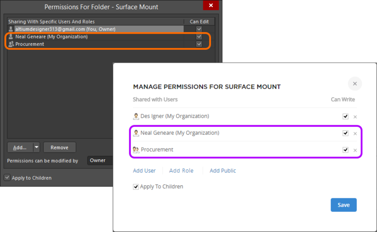 The result of adding a single user and role to the permissions list for both Explorer panel interface (background) and browser-based interface (foreground).