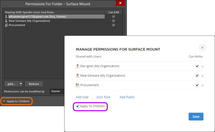 Enable the Apply to Children option to pass permissions defined for the folder to descendant child folders, and Items (and revisions) therein.