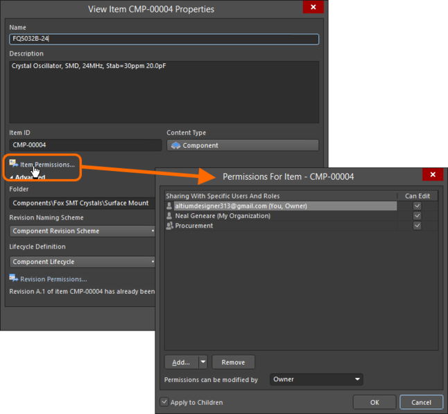 Access the Permissions For Item dialog, with which to control how the Item is shared with others.