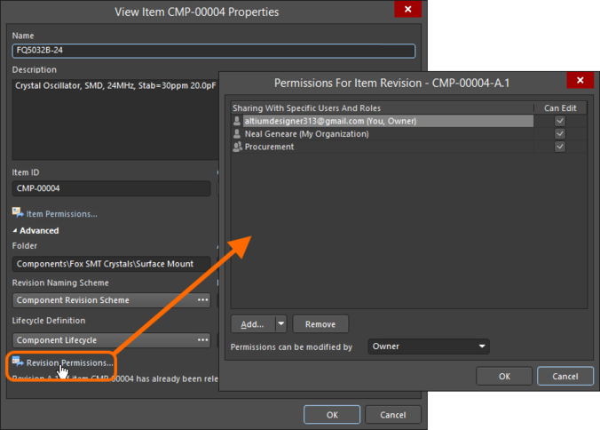 Access the Permissions For Item Revision dialog, with which to control how the Item Revision is shared with others.