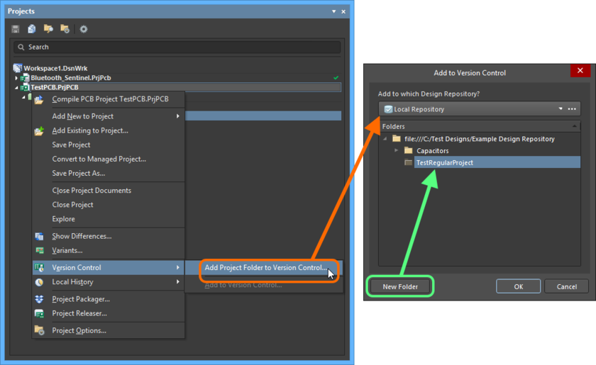 Adding a Regular design project to a local design repository.
