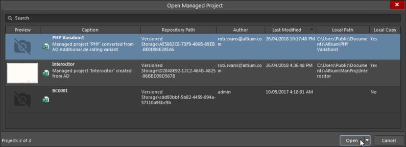 Above: Opening a Manged Project through the Altium NEXUS Open Managed Project command.