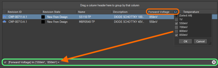 An example of column filtering in action.