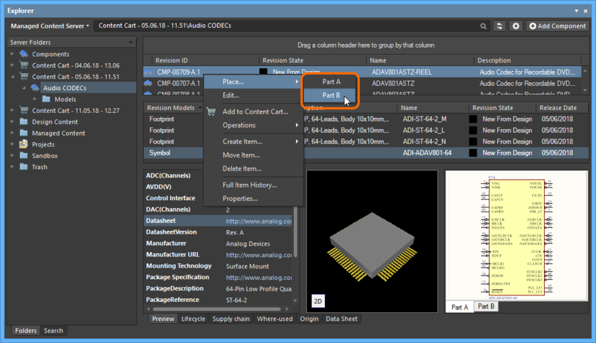 A placement sub-menu offers all parts in the multi-part Component Item.