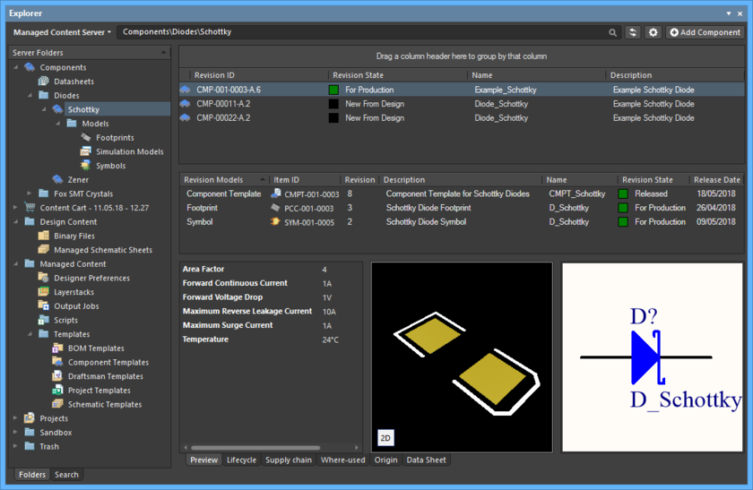 The Explorer panel provides the user interface to a managed content server, directly from within Altium Designer.