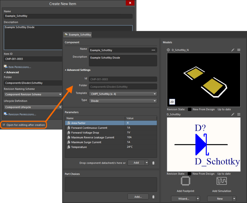 Example of editing the initial revision of a Component Item, directly from the managed content server - the temporary Component Editor provides the controls with which to  define your component (shown in its default Single Component Editing mode).
