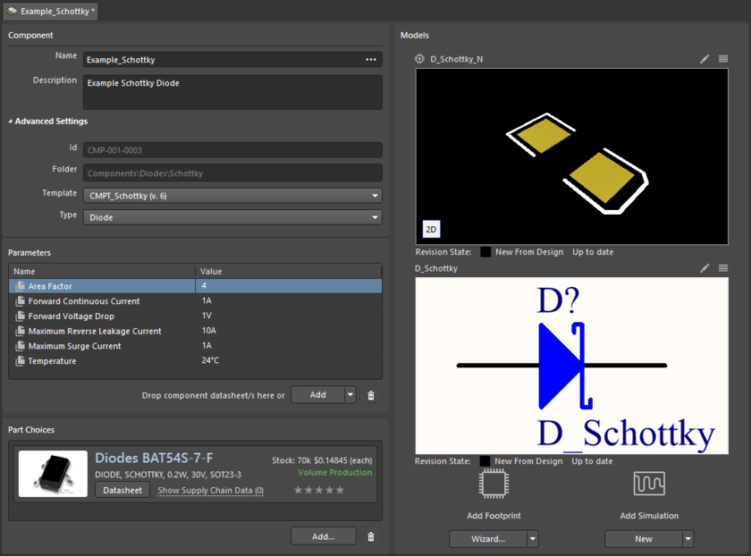 Example showing definition of a component, with the Component Editor in its Single Component Editing mode.