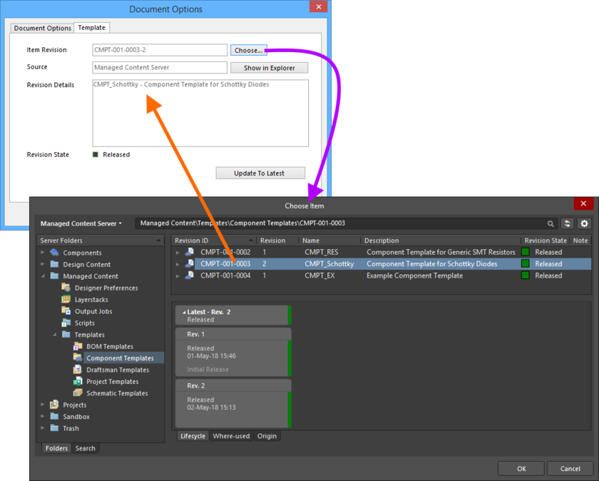 Manually linking a component to a revision of a Component Template Item, in the target Server.