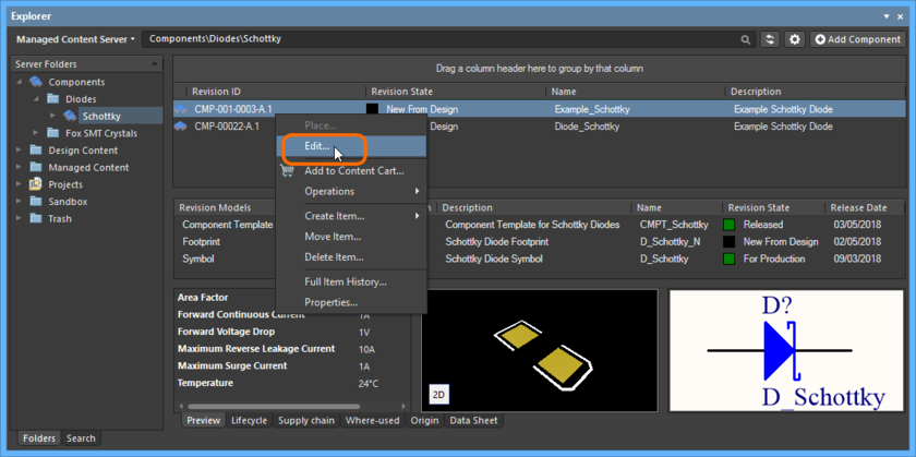 Accessing the command to launch direct editing of an existing revision of a Component Item.