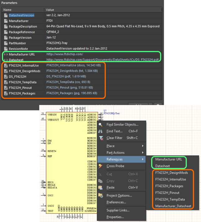 Accessing datasheets from a placed managed component on a schematic sheet.