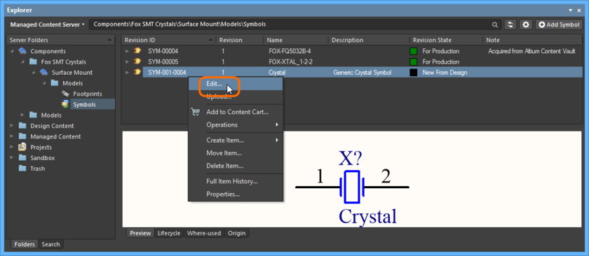 Accessing the command to launch direct editing of an existing revision of a Symbol Item.