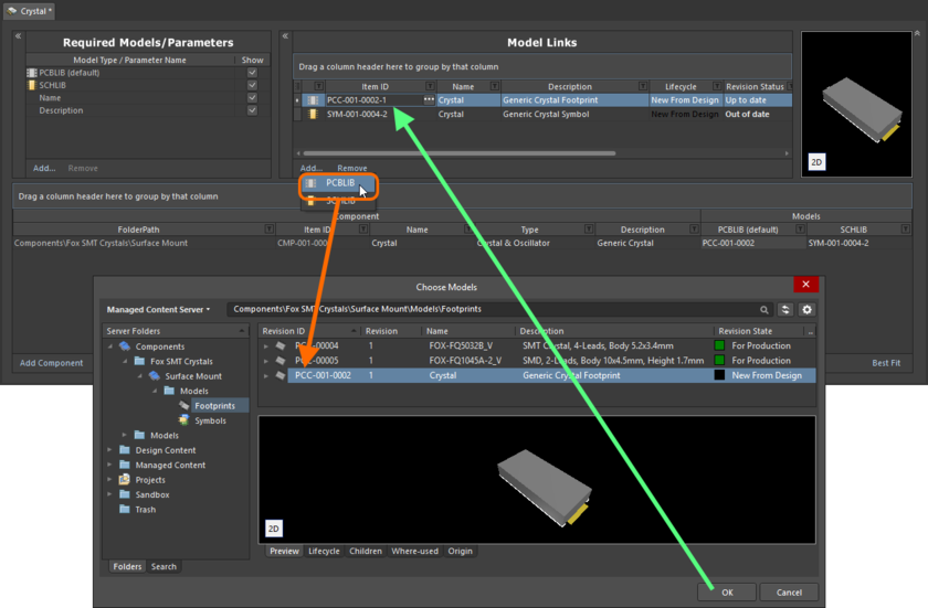 Example of referencing a revision of a Footprint Item as a model link, when direct editing a revision of a Component Item (managed component) using the Batch Editor.
