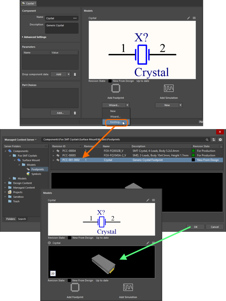 Example of referencing a revision of a Footprint Item as a model link, when direct editing the revision of a Component Item (managed component) using the Single Component Editor.