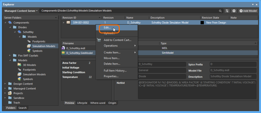 Accessing the command to launch direct editing of an existing revision of a Simulation Model Item.
