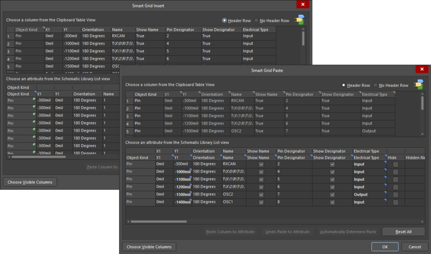 This dialog has two variations: theSmart Grid Insertversion (back) and theSmart Grid Pasteversion (front).