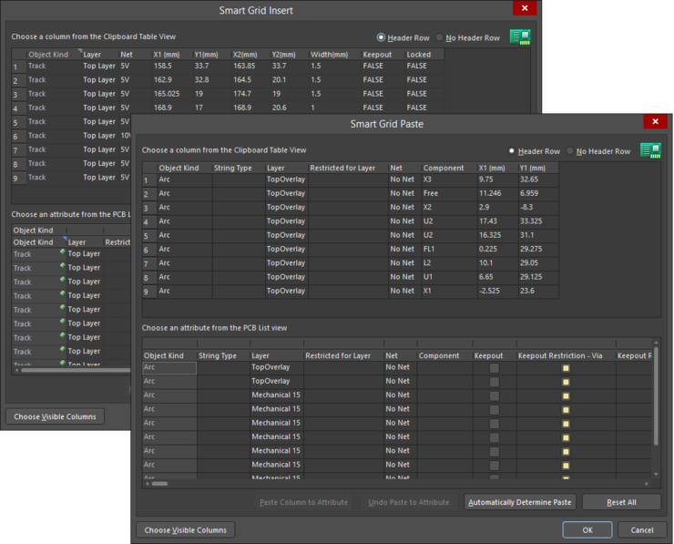 This dialog has two variations: the Smart Grid Insert version (back) and the Smart Grid Paste version (front).