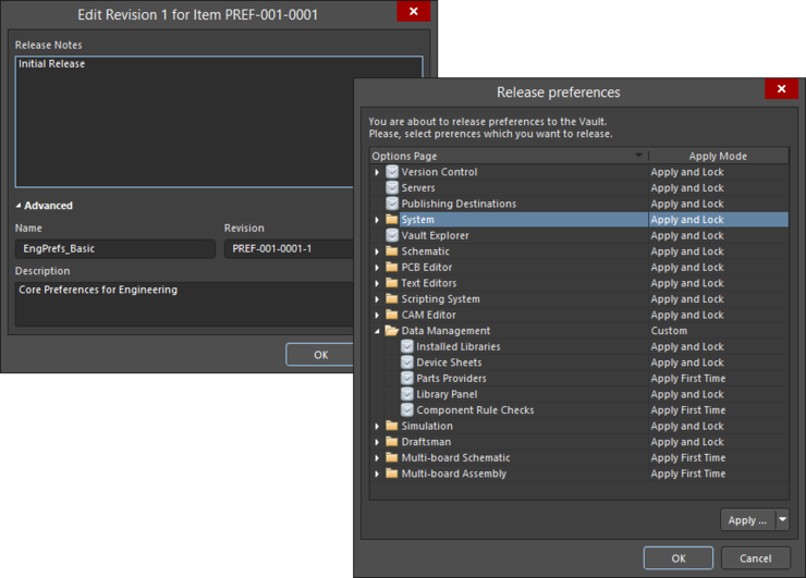 Edit the revision as required, including adding release notes, then proceed to define how the preferences are released, through the Release preferences dialog.