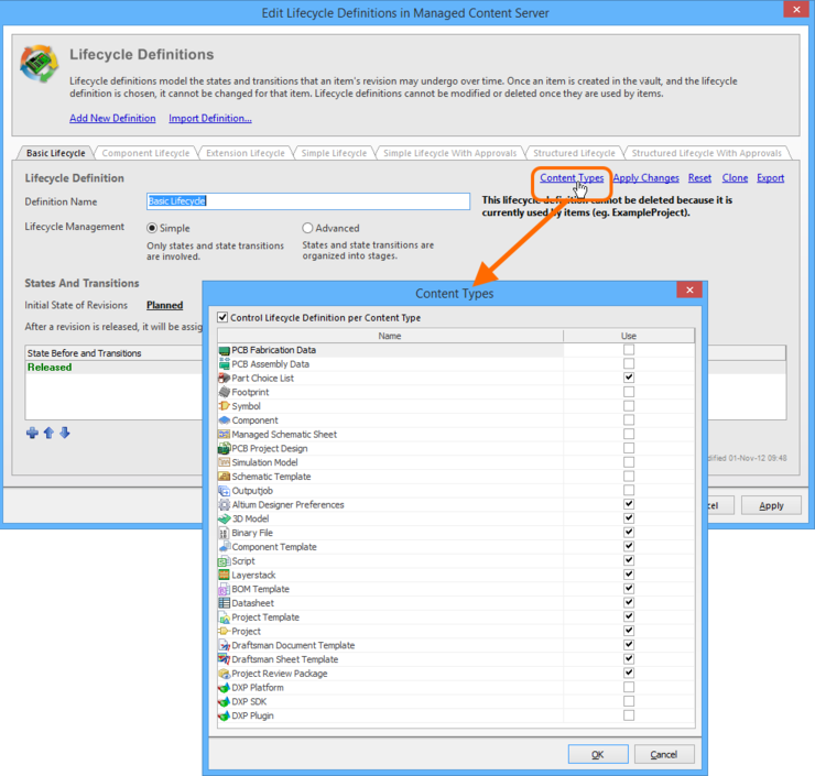 Accessing the Content Types dialog - command central for determining which Item types can use the lifecycle definition being configured.