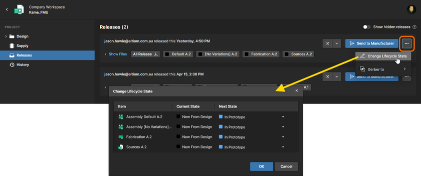 Change the lifecycle state for the data sets within a release package, directly from within the Releases view.