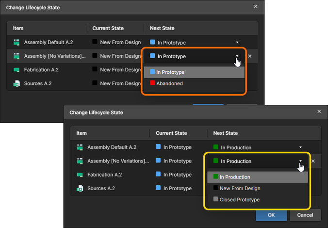 All possible transition states will be presented in the drop-down listing for the Next State cell. These are based on the Current State (two examples shown here) and are defined as part of the parent lifecycle definition.