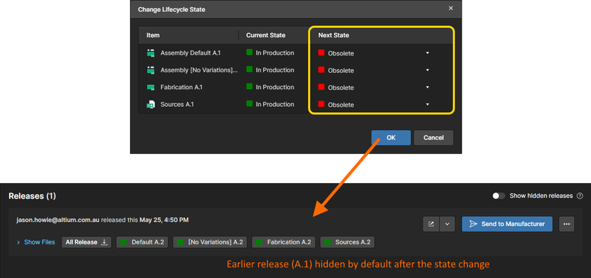 Upon changing its data items to a lifecycle state that is not permitted for use, the release is hidden from the Releases view.
