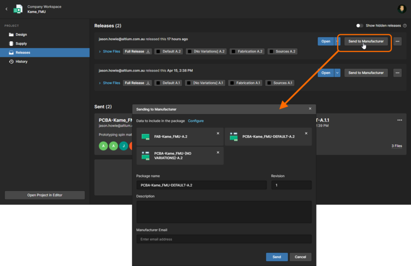 You can send (share) a specific release of a project directly with your manufacturer.