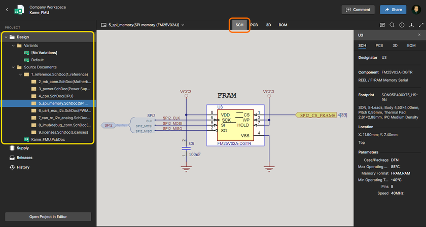 The Design view utilizes Altium 365's Web Viewer functionality to provide an immersive and interactive experience for reviewing the source schematic and PCB documents in your design project. Shown here is a schematic – hover over the image to see the PCB in 3D.