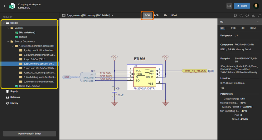 The Design view utilizes Altium 365's Web Viewer functionality to provide an immersive and interactive experience for reviewing the source schematic and PCB documents in your design project. Shown here is a schematic - hover over the image to see the PCB in 3D.
