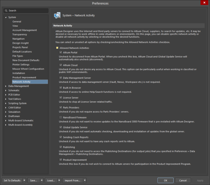 The System - Network Activity page of the Preferences dialog