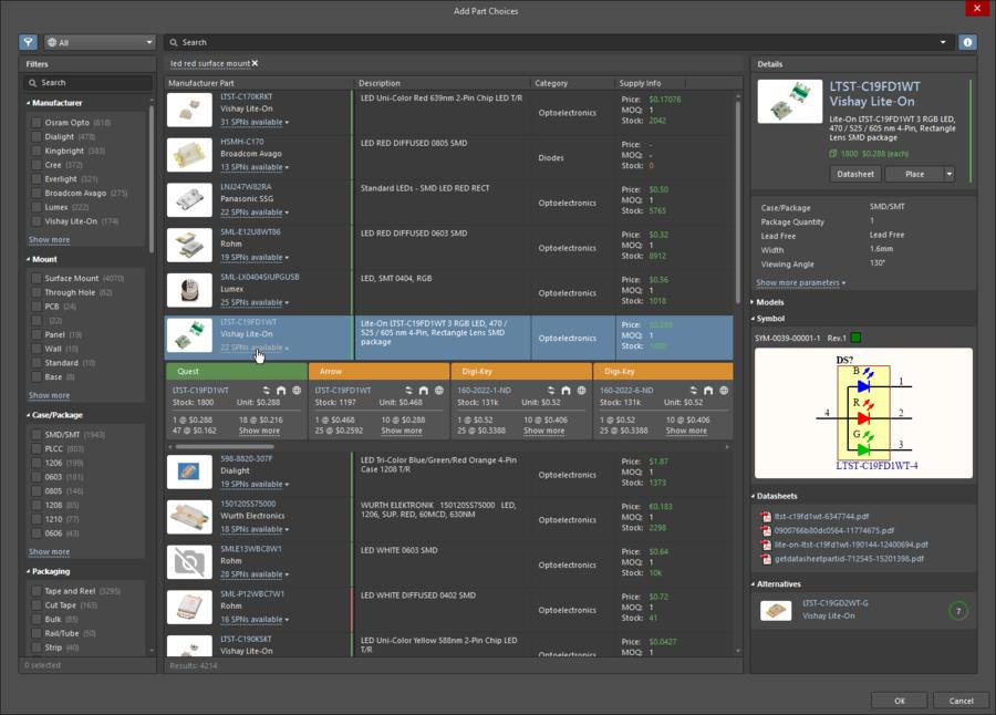 ActiveBOM中定义的制造商链接提供对供应链的完全访问权限。
