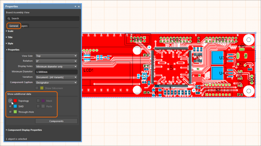 Example Board Assembly View, showing how additional data, such as layer contents, can be included