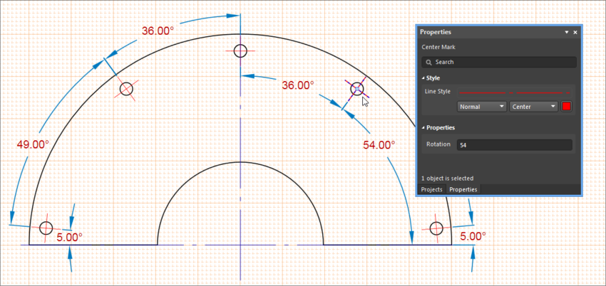 Example drawing showing how Center Marks can be used as a radial dimension reference point