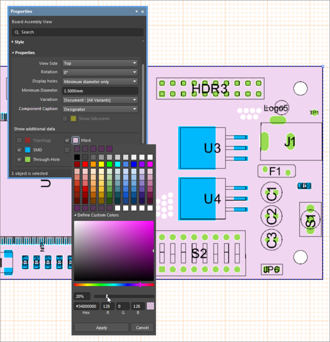 Example Board Assembly View, showing how layer color can be changed